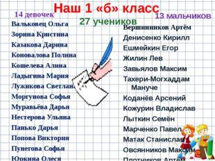 Наш 1 «б» класс 27 учеников 14 девочек Вальковец Ольга Зорина Кристина Казако