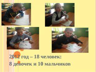 2012 год – 18 человек: 8 девочек и 10 мальчиков