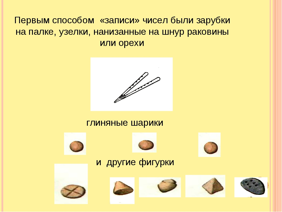 Первым способом «записи» чисел были зарубки на палке, узелки, нанизанные на ш...