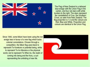 The Flag of New Zealand is a defaced blue ensign with the Union Flag in the