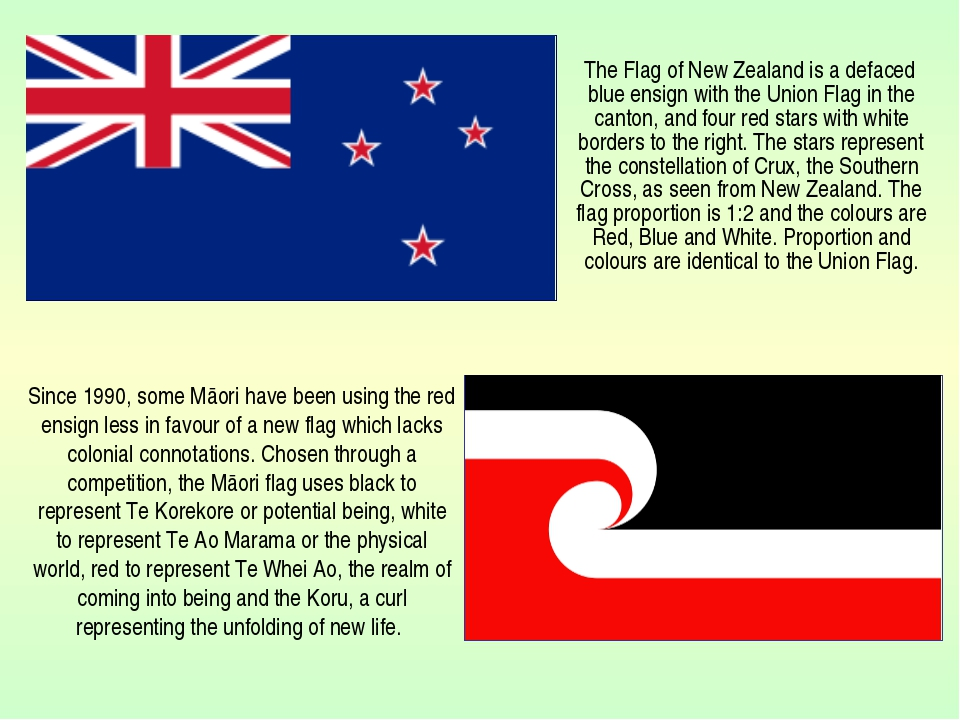 The Flag of New Zealand is a defaced blue ensign with the Union Flag in the...