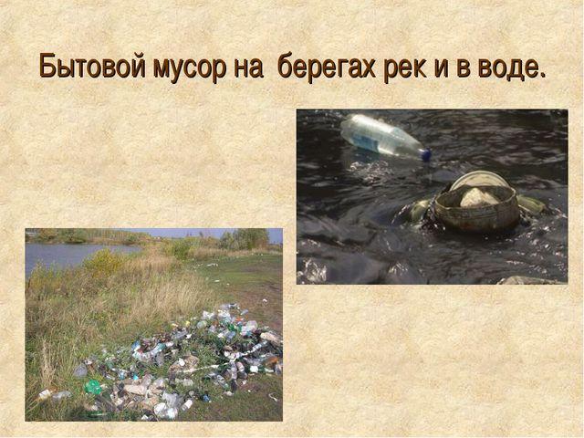 Бытовой мусор на берегах рек и в воде.