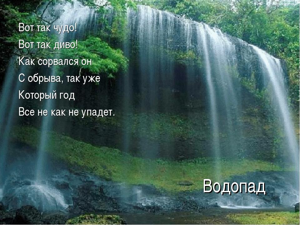 Водопад Вот так чудо! Вот так диво! Как сорвался он С обрыва, так уже Который...