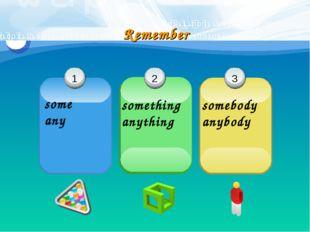 1 some any 2 3 Remember something anything somebody anybody