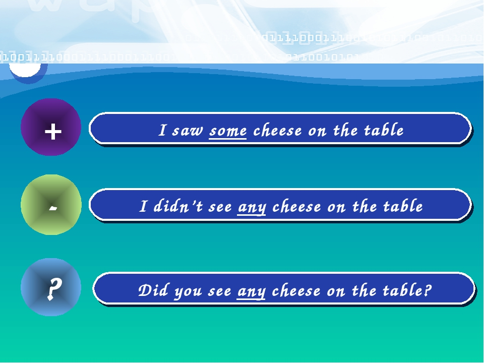 + I saw some cheese on the table - I didn't see any cheese on the table Did y...