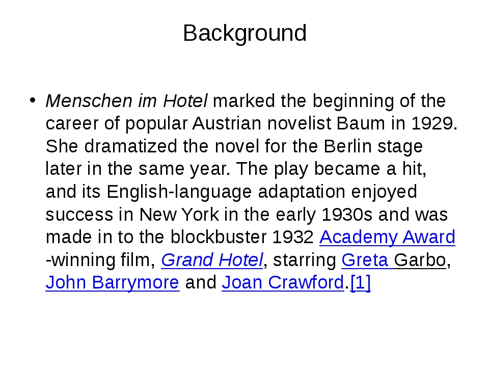Background Menschen im Hotel marked the beginning of the career of popular Au...