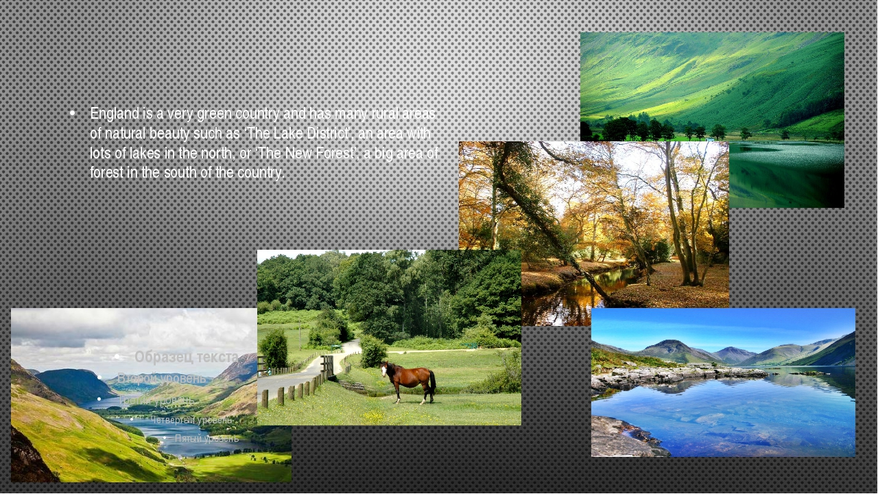 England is a very green country and has many rural areas of natural beauty su...