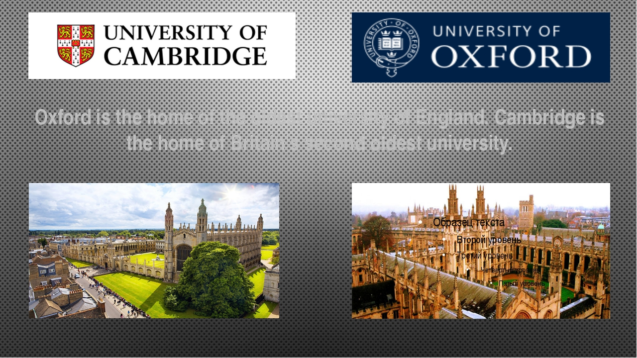 Oxford is the home of the oldest university of England. Cambridge is the hom...