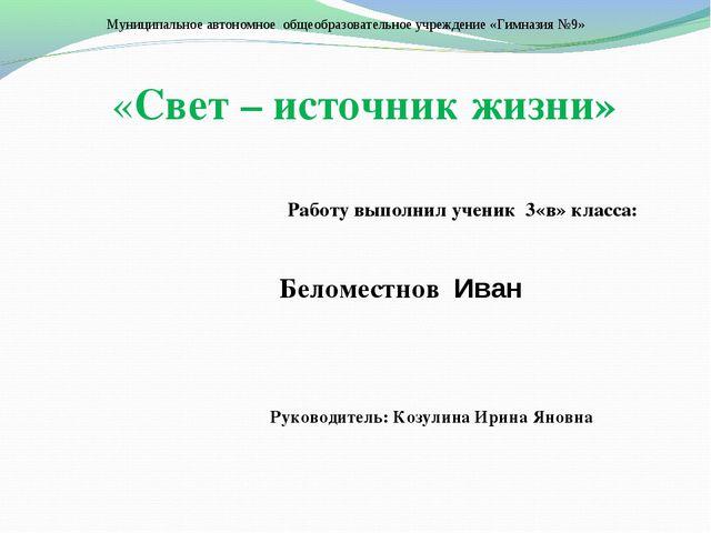 Муниципальное автономное общеобразовательное учреждение «Гимназия №9» «Свет –...