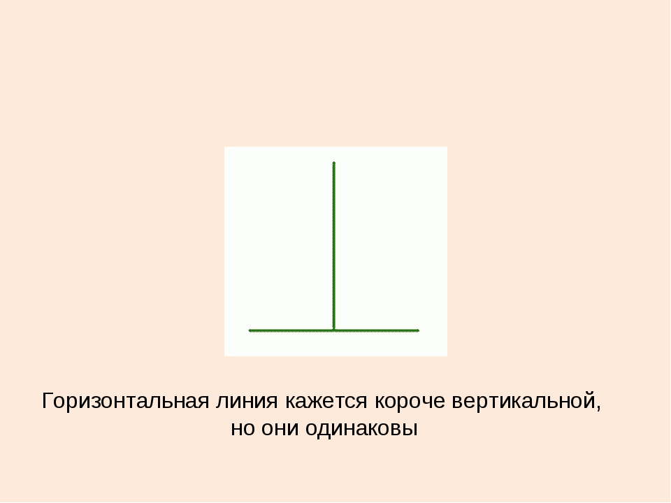 Горизонтальная линия кажется короче вертикальной, но они одинаковы