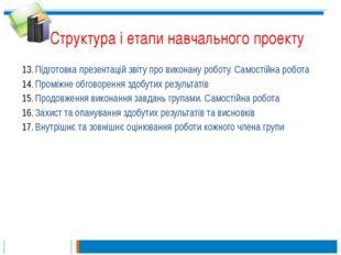 Структура і етапи навчального проекту Підготовка презентацій звіту про викона