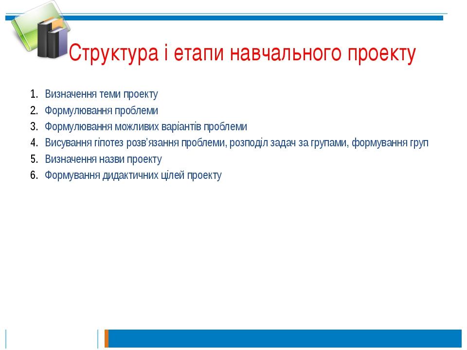 Структура і етапи навчального проекту Визначення теми проекту Формулювання пр...