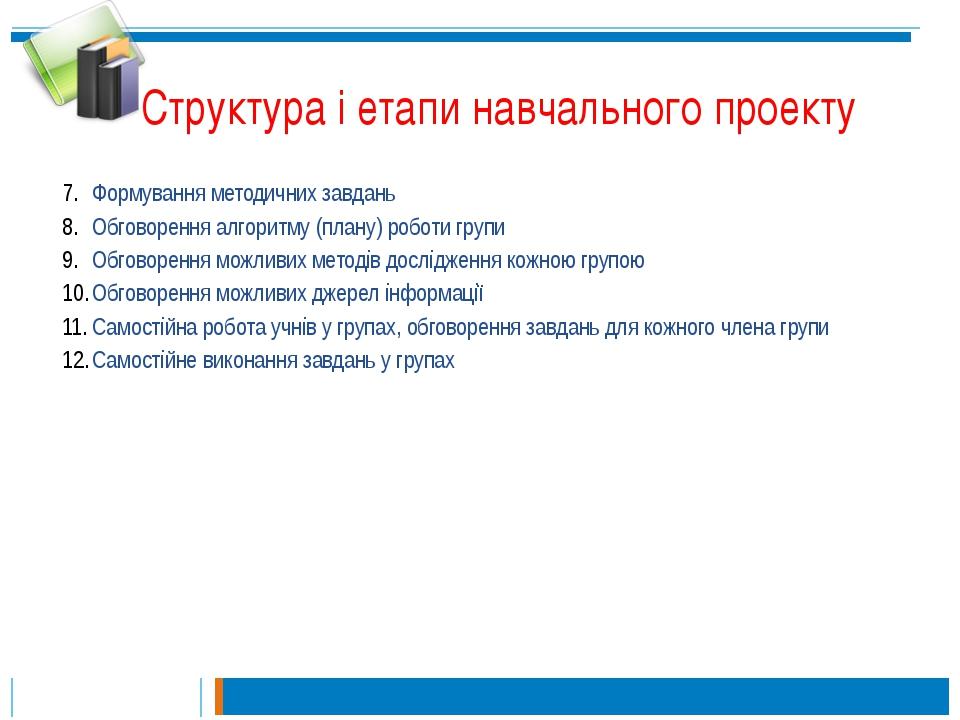 Структура і етапи навчального проекту Формування методичних завдань Обговорен...