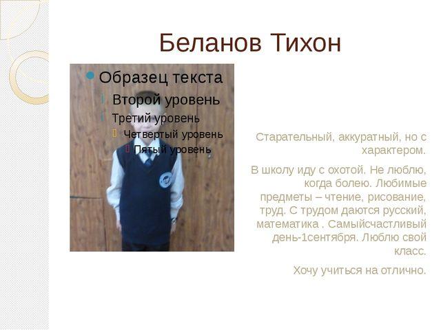 Беланов Тихон Старательный, аккуратный, но с характером. В школу иду с охотой...