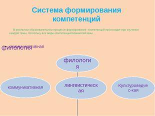 Система формирования компетенций В реальном образовательном процессе формиров