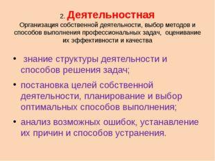 2. Деятельностная Организация собственной деятельности, выбор методов и спосо
