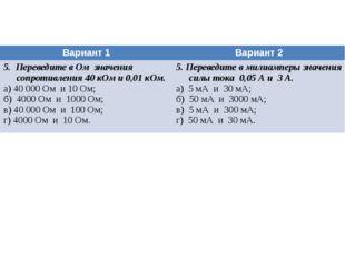 Вариант 1 Вариант 2 5. Переведите в Омзначения сопротивления 40 кОм и 0,01 кО