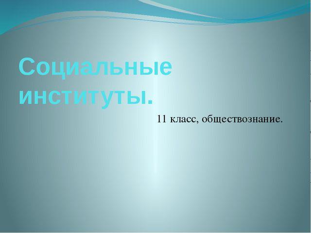 Социальные институты. 11 класс, обществознание.