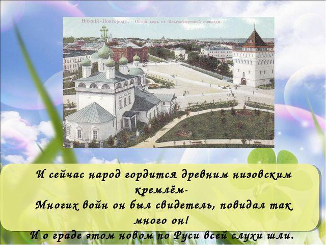 И сейчас народ гордится древним низовским кремлём- Многих войн он был свидете...