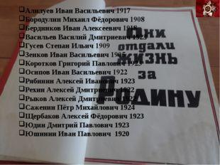 Алилуев Иван Васильевич 1917 Бородулин Михаил Фёдорович 1908 Бердников Иван А