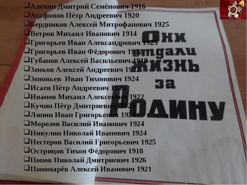 Алёхин Дмитрий Семёнович 1916 Агафонов Пётр Андреевич 1920 Бердников Алексей...