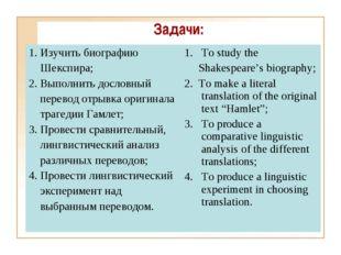 Задачи: Изучить биографию Шекспира; 2. Выполнить дословный перевод отрывка ор