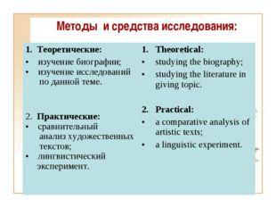 Методы и средства исследования: 1. Теоретические: изучение биографии; изучени