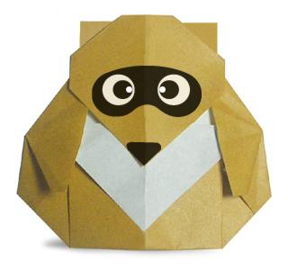 Оригами енот