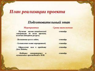 План реализации проекта Подготовительный этап МероприятияСроки выполнения -