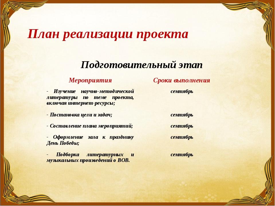 План реализации проекта Подготовительный этап МероприятияСроки выполнения -...