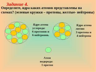 Определите, ядра каких атомов представлены на схемах? (зеленые кружки – прото