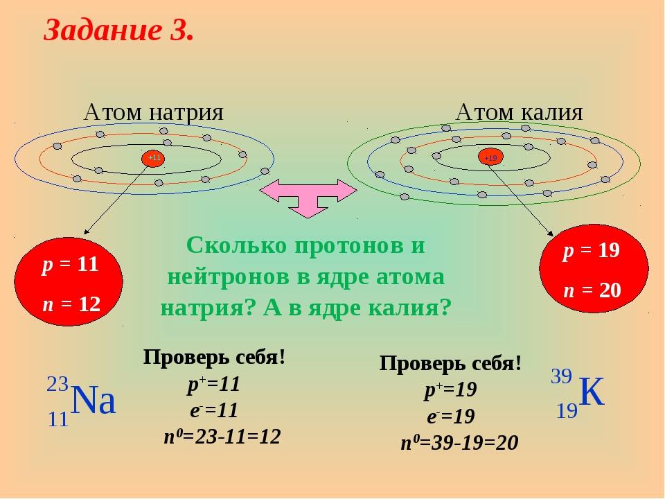 Атом натрия Атом калия p = 11 n = 12 p = 19 n = 20 Проверь себя! p+=19 e-=19...