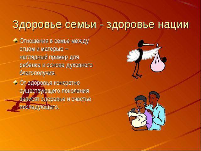 Здоровье семьи - здоровье нации Отношения в семье между отцом и матерью – наг...