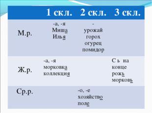 1 скл.2 скл.3 скл. М.р.-а, -я Миша Илья- урожай горох огурец помидор Ж.