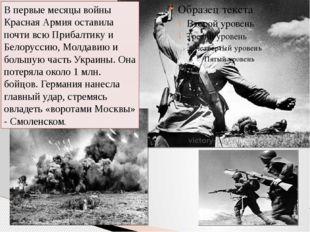 В первые месяцы войны Красная Армия оставила почти всю Прибалтику и Белорусс