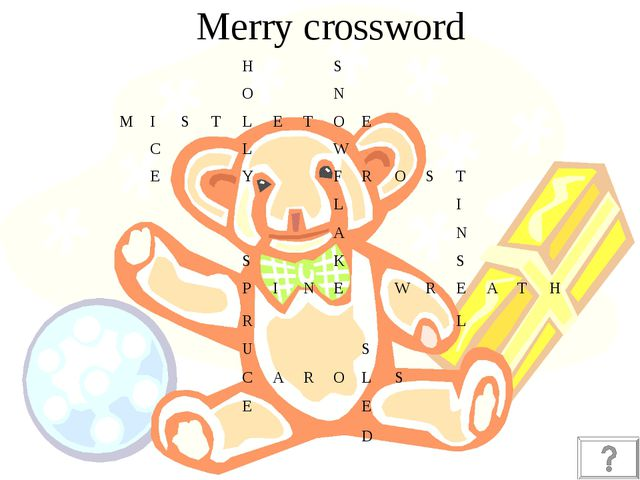 Merry crossword HS ON MISTLETOE C...