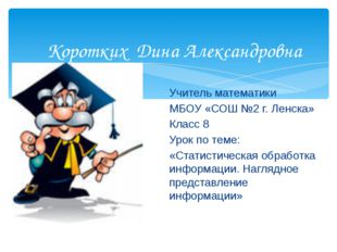 Коротких Дина Александровна Учитель математики МБОУ «СОШ №2 г. Ленска» Класс