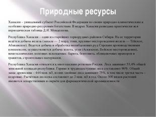 Природные ресурсы Хакасия – уникальный субъект Российской Федерации по своим
