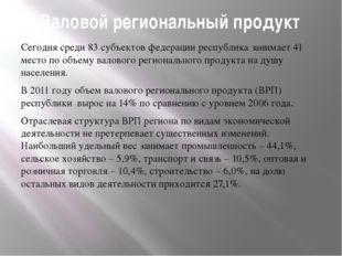 Валовой региональный продукт Сегодня среди 83 субъектов федерации республика