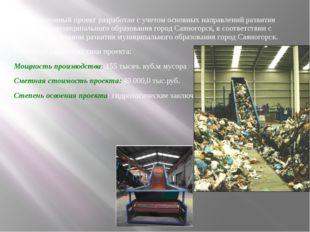 Инвестиционный проект разработан с учетом основных направлений развития терри
