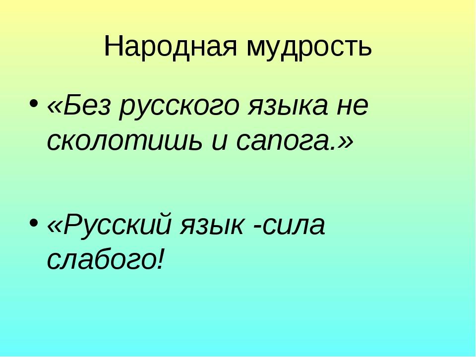 Народная мудрость «Без русского языка не сколотишь и сапога.» «Русский язык -...