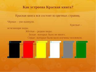 Как устроена Красная книга? Красная книга вся состоит из цветных страниц. Чёр