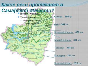 Какие реки протекают в Самарской области? Самара – 594 км Сок – 364 км Большо