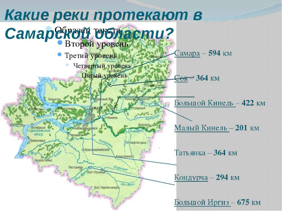 Какие реки протекают в Самарской области? Самара – 594 км Сок – 364 км Большо...