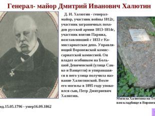 Генерал- майор Дмитрий Иванович Халютин Д. И. Халютин - генерал-майор, участ