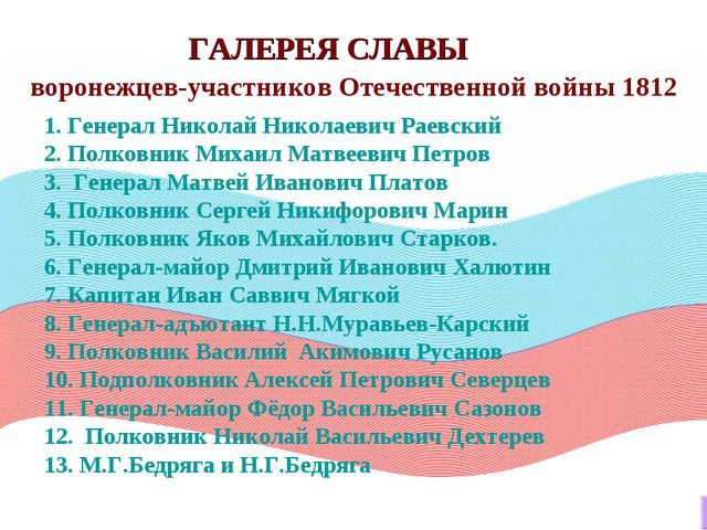ГАЛЕРЕЯ СЛАВЫ 1. Генерал Николай Николаевич Раевский 2. Полковник Михаил Матв...