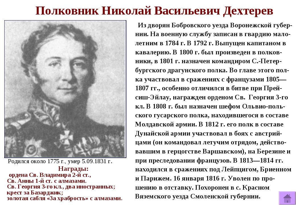 Полковник Николай Васильевич Дехтерев Из дворян Бобровского уезда Воронежско...