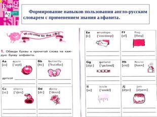 Формирование навыков пользования англо-русским словарем с применением знани
