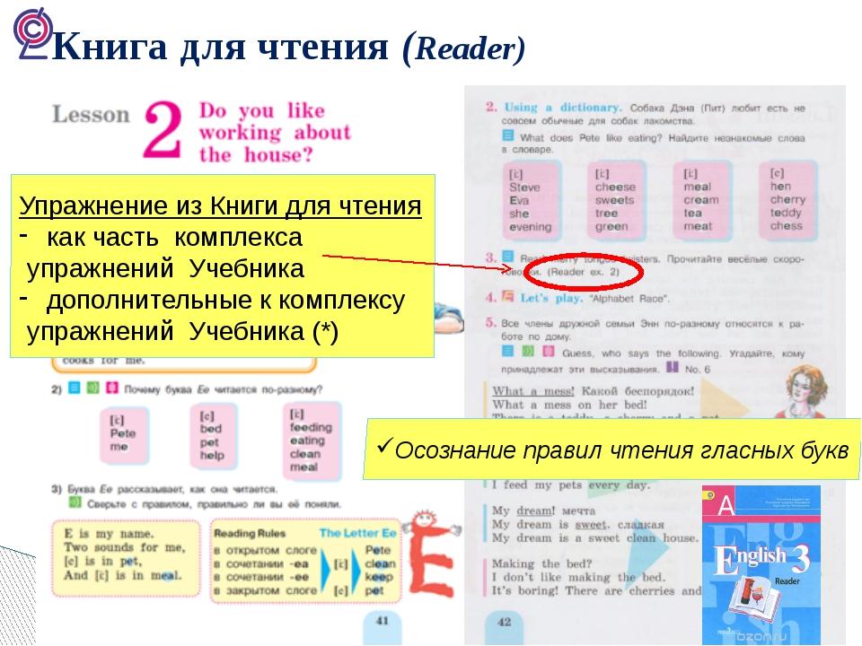 Книга для чтения (Reader) Осознание правил чтения гласных букв Упражнение из...