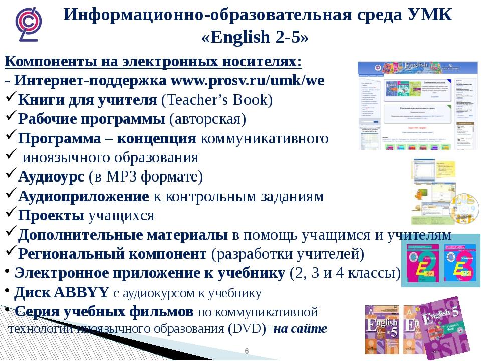Информационно-образовательная среда УМК «English 2-5» Компоненты на электрон...